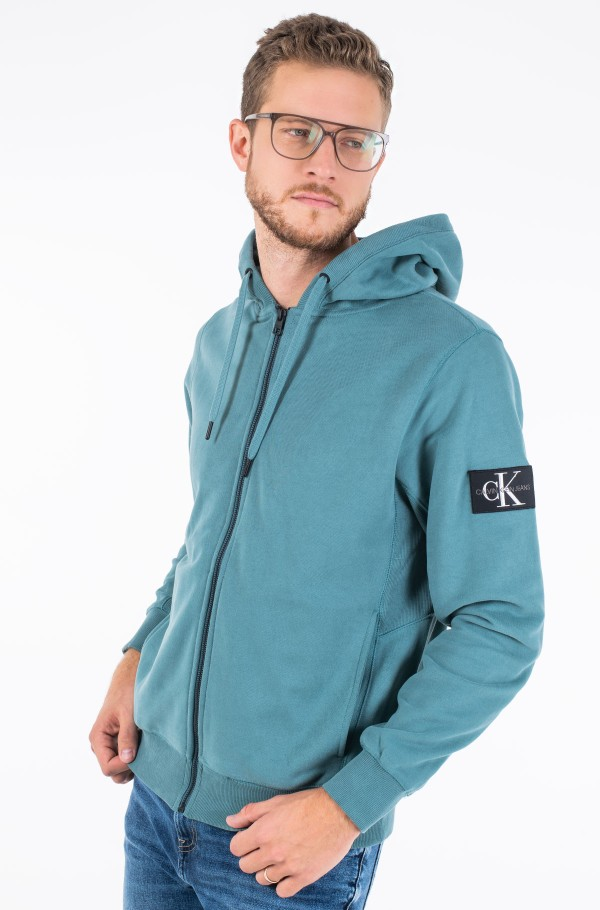 MONOGRAM BADGE ZIP UP HOODIE-hover