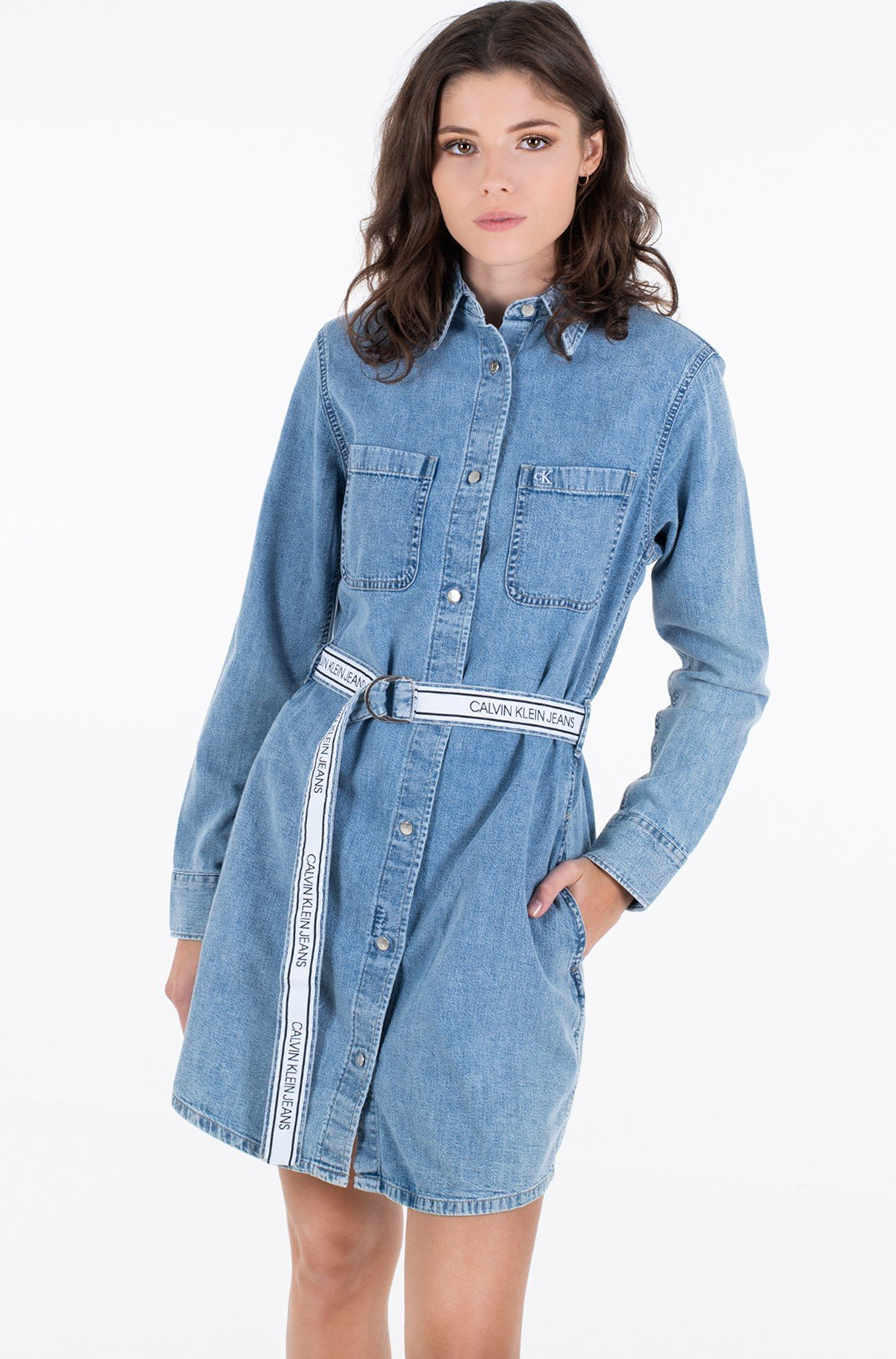Denim dress RELAXED SHIRT DRESS BELT-full-3