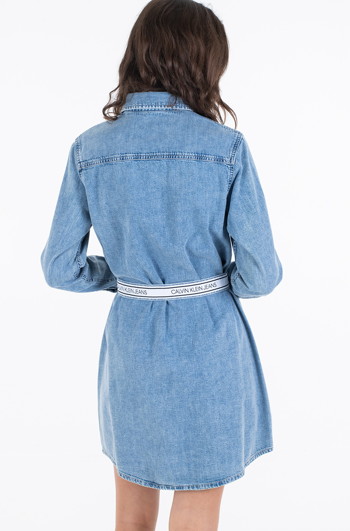 Denim dress RELAXED SHIRT DRESS BELT-full-5