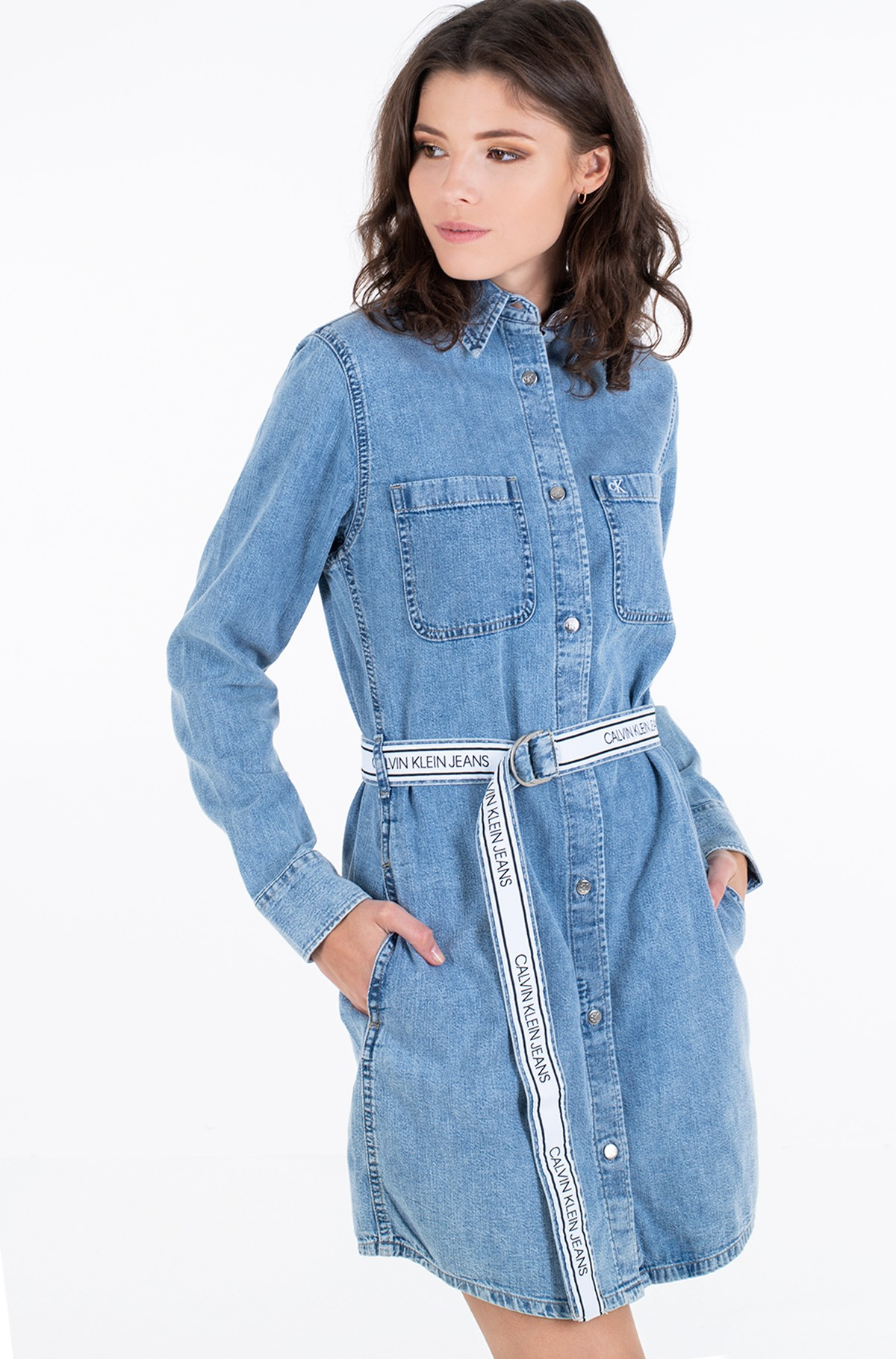 Denim dress RELAXED SHIRT DRESS BELT-full-2
