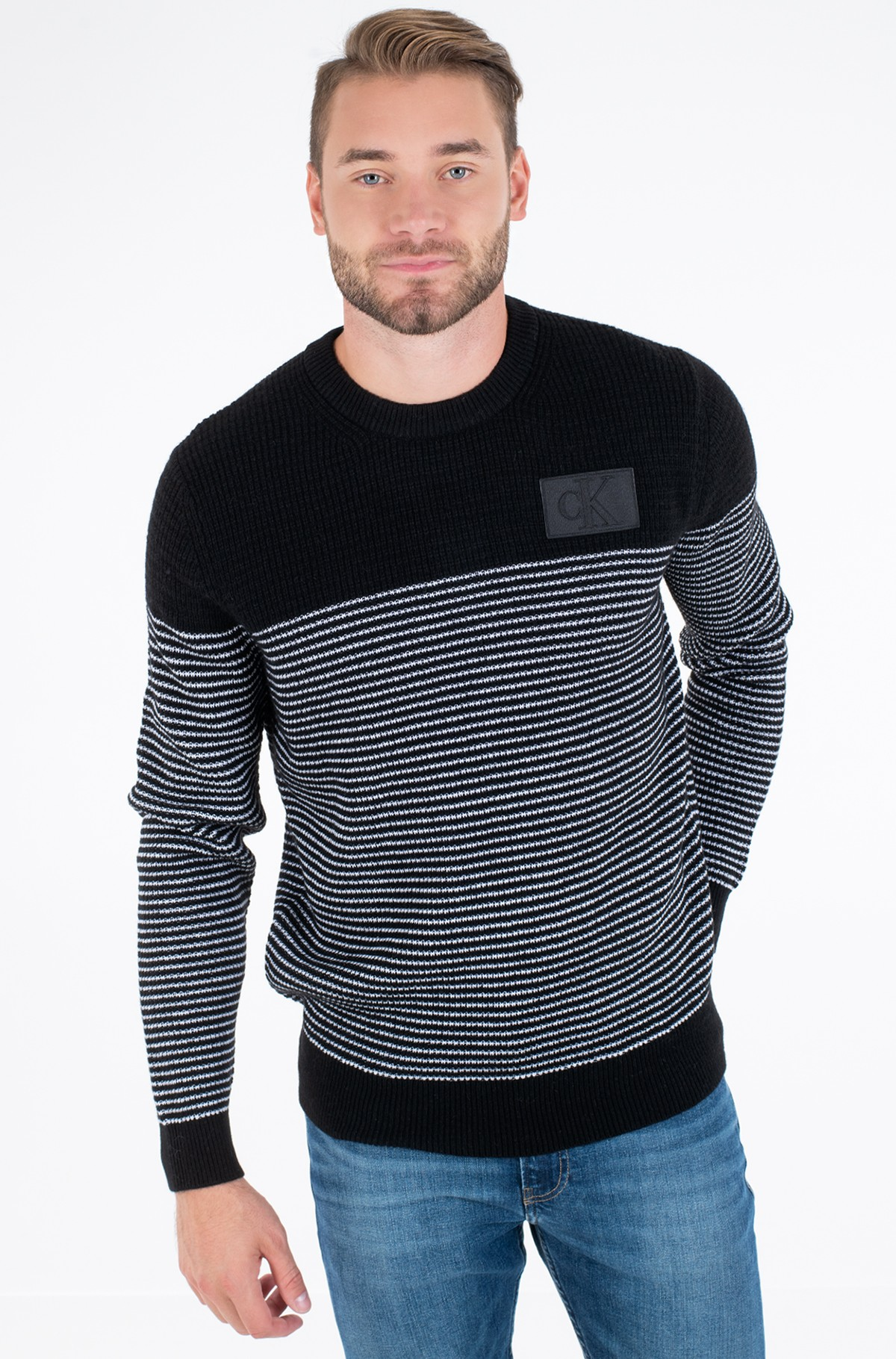 Kampsun TEXTURED STRIPED CN SWEATER-full-1
