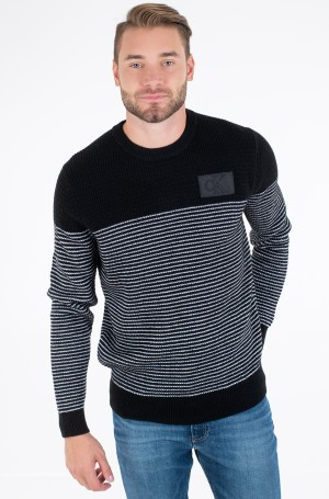 Kampsun TEXTURED STRIPED CN SWEATER-1