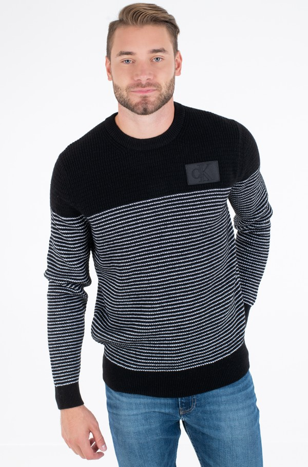 TEXTURED STRIPED CN SWEATER
