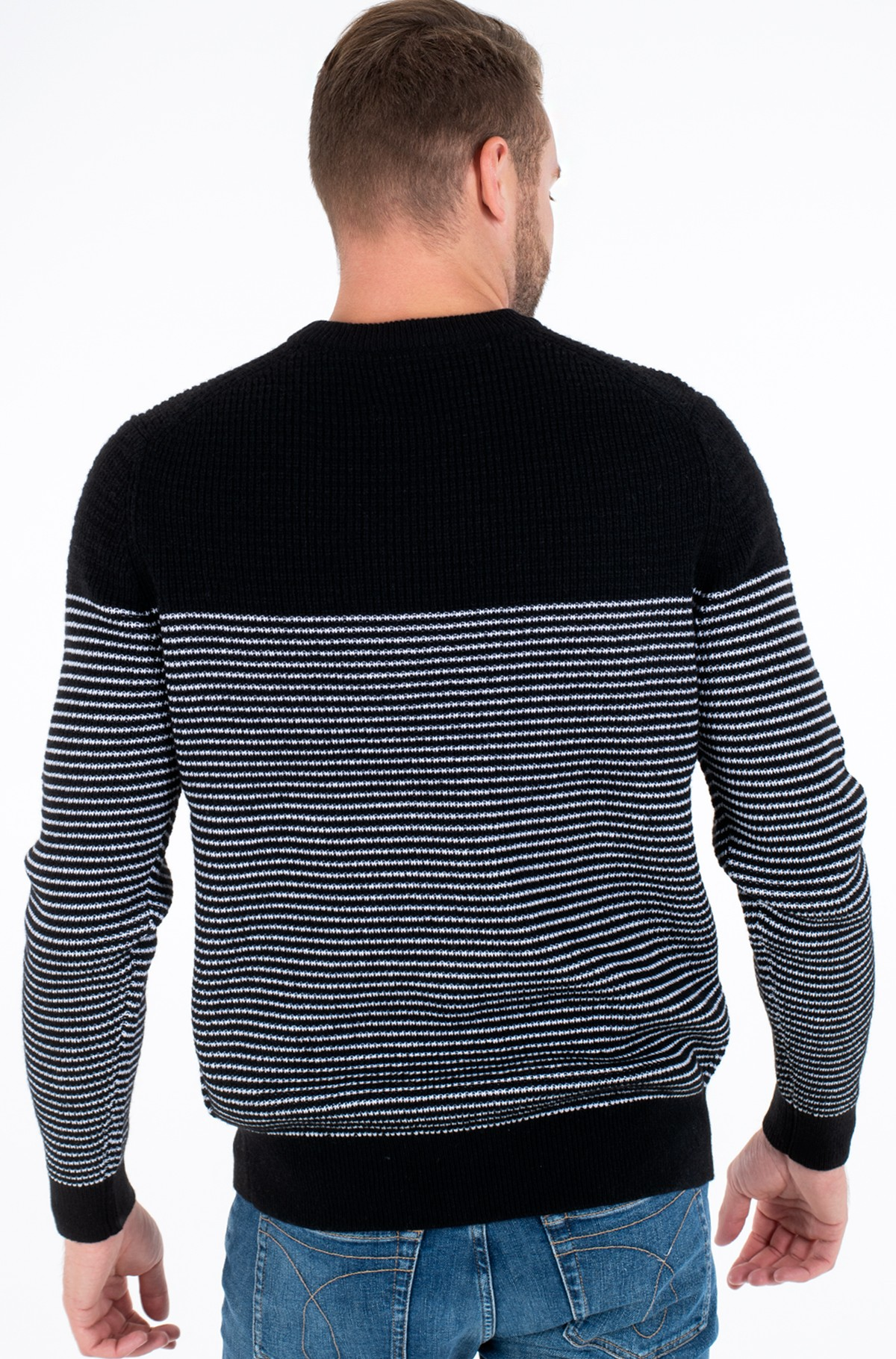 Kampsun TEXTURED STRIPED CN SWEATER-full-2