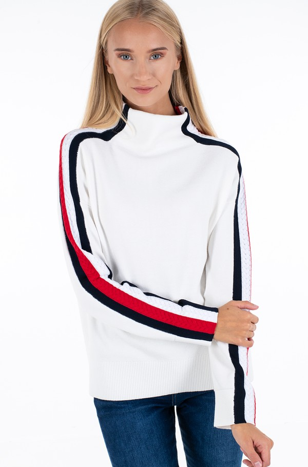 SIDE STRIPE MOCK-NK SWEATER LS