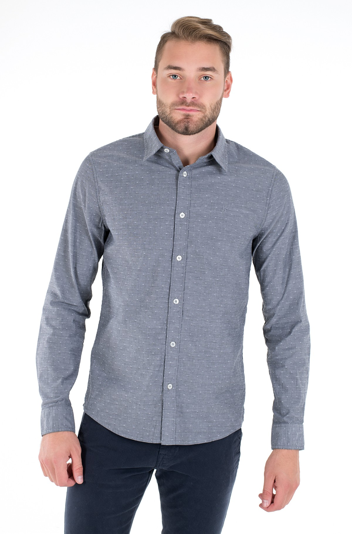 Triiksärk WASHED DOBBY SLIM SHIRT-full-1