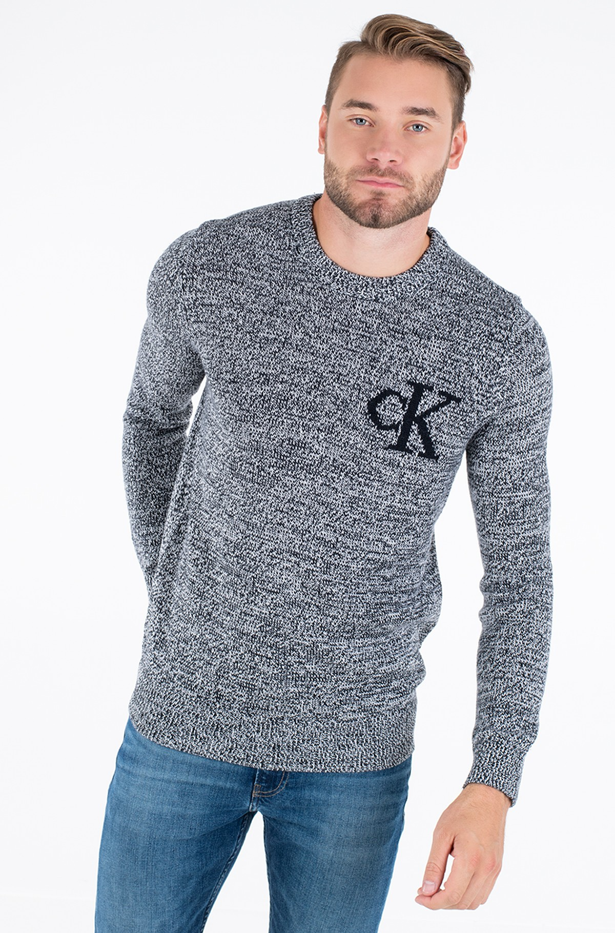 Kampsun TWISTED YARN CK LOGO SWEATER-full-1