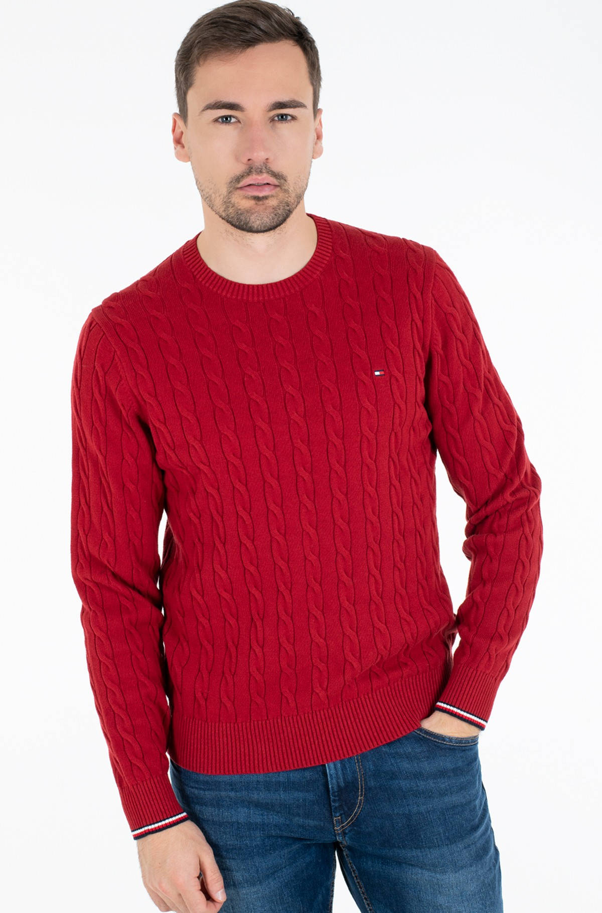 Sweater ORGANIC COTTON CABLE CREW NECK-full-1