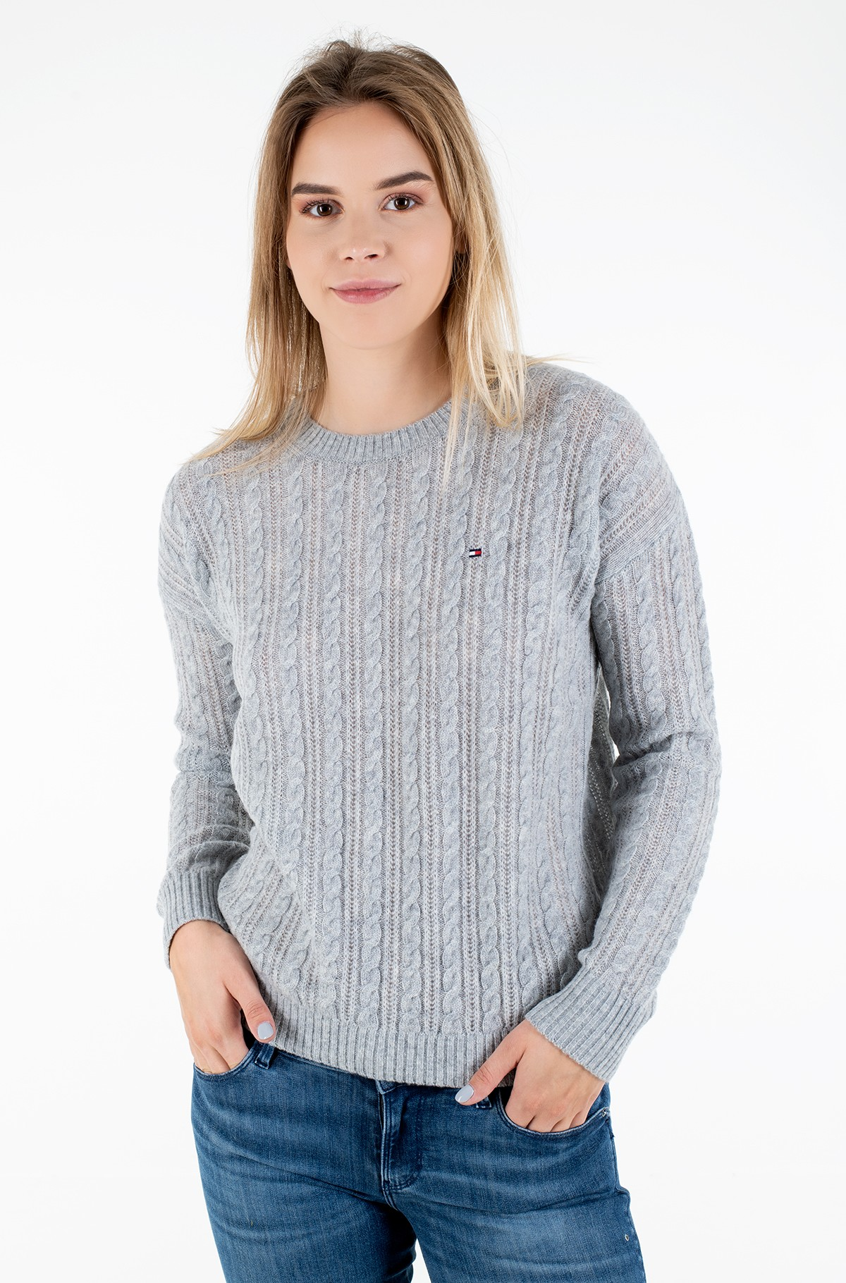 Kampsun SOFTWOOL CABLE C-NK SWEATER LS-full-1