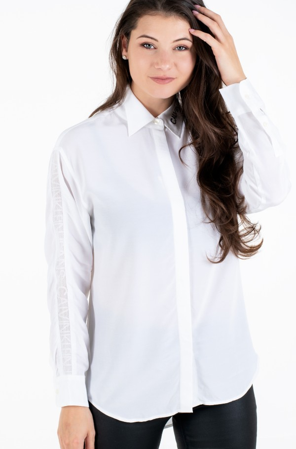 DRAPEY SHIRT WITH MESH TAPE-hover
