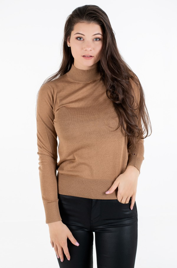 WOOL SILK MOCK-NK SWEATER LS