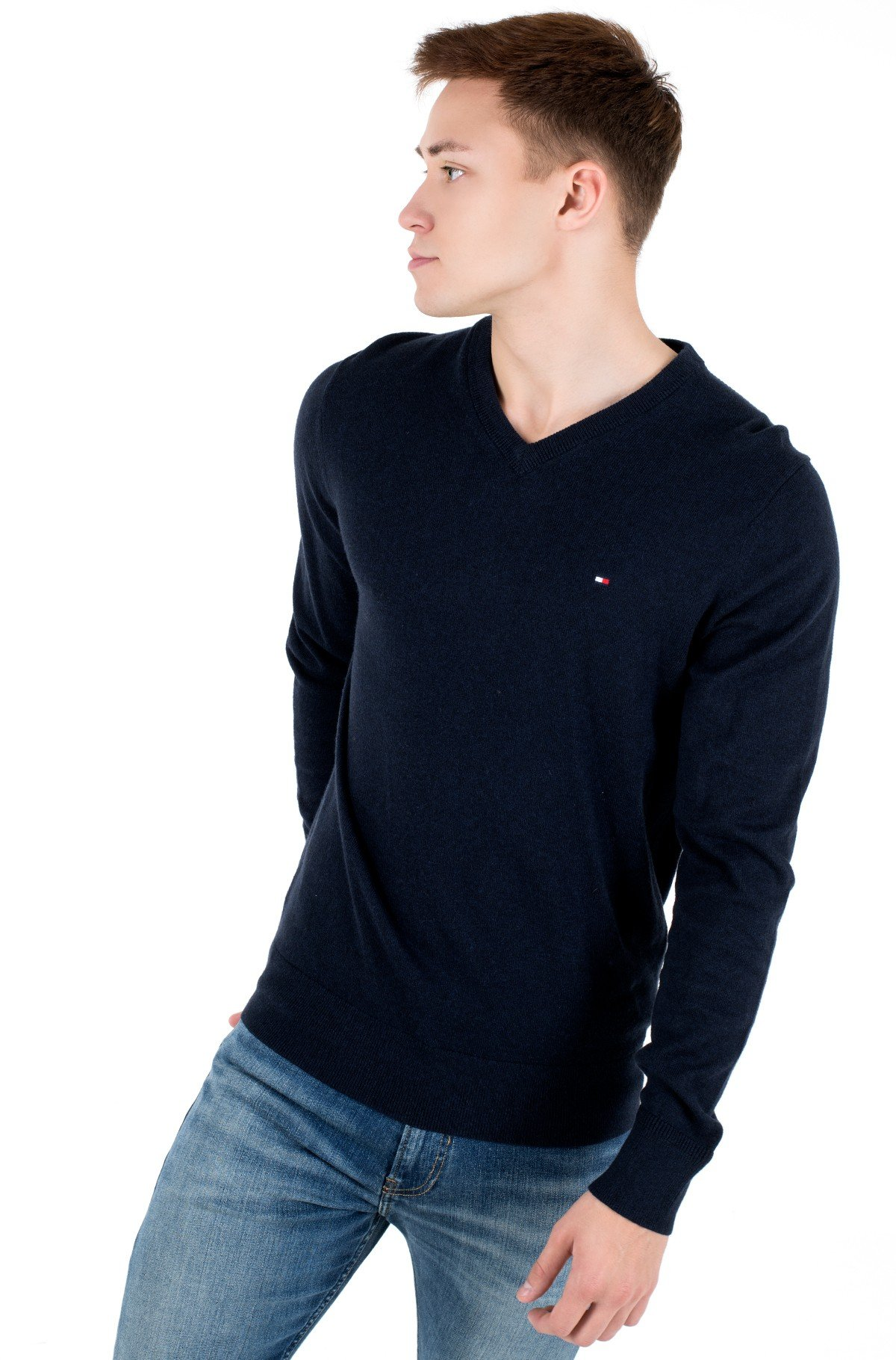 Sviiter PIMA COTTON CASHMERE V NECK-full-1