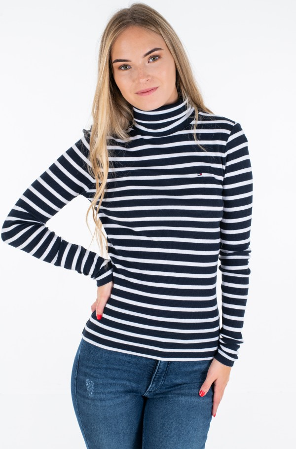 TH ESS SKINNY ROLL-NK RIB TOP LS