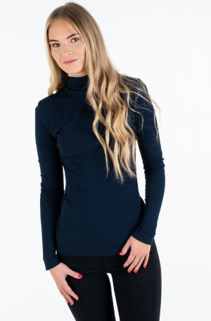 Kootud pluus SKINNY HIGH-NK WIDE RIB TOP LS-1