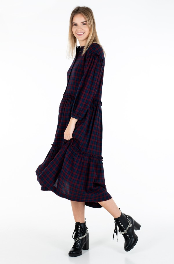 BEA TARTAN SHIRT DRESS 3/4 SLV
