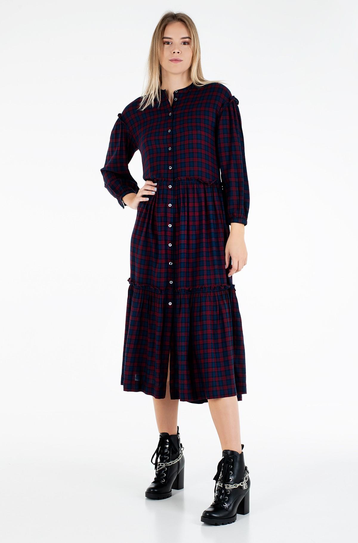 Suknelė BEA TARTAN SHIRT DRESS 3/4 SLV-full-2