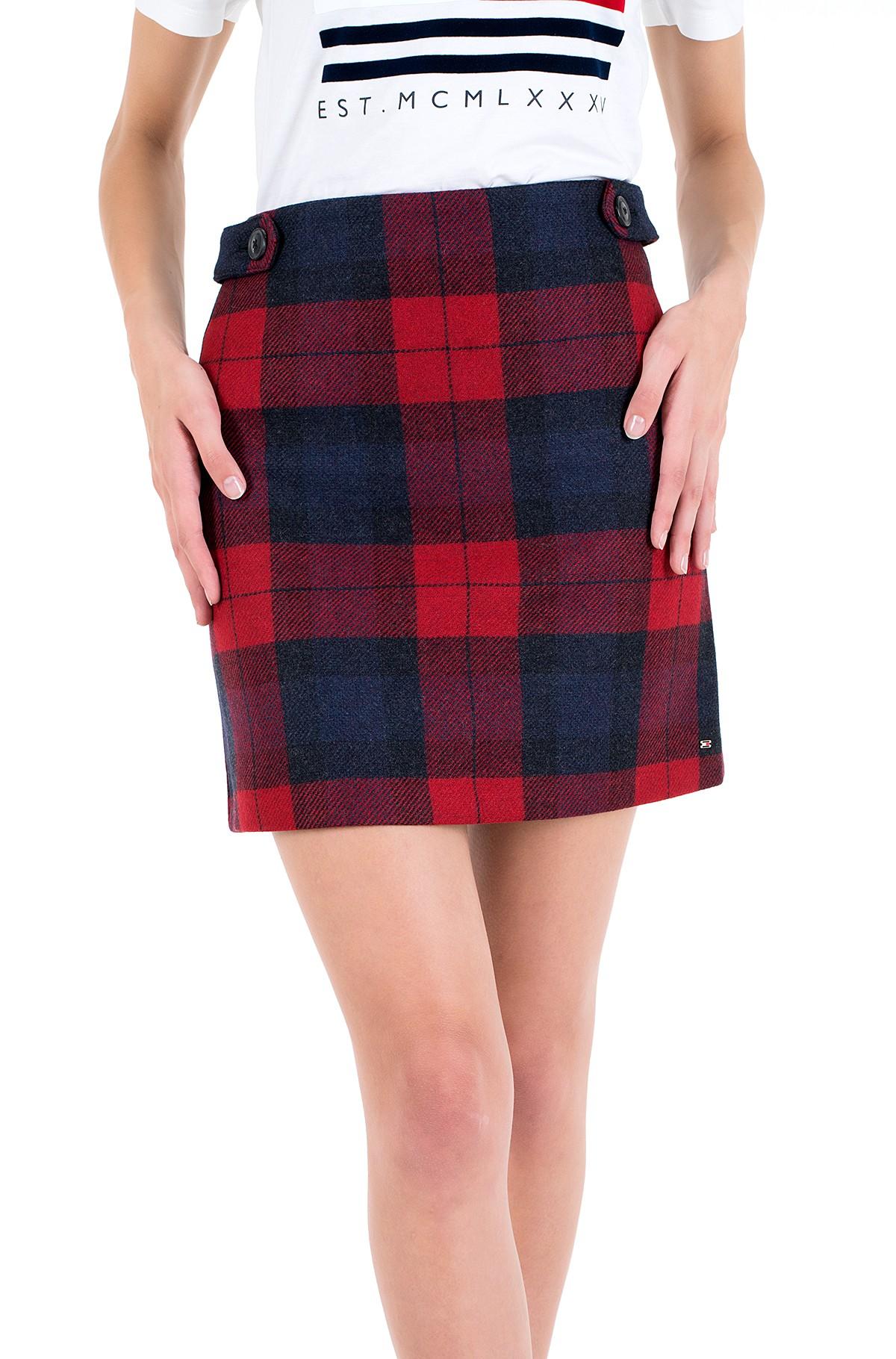 Skirt WOOL RED CHECK MINI SKIRT-full-2