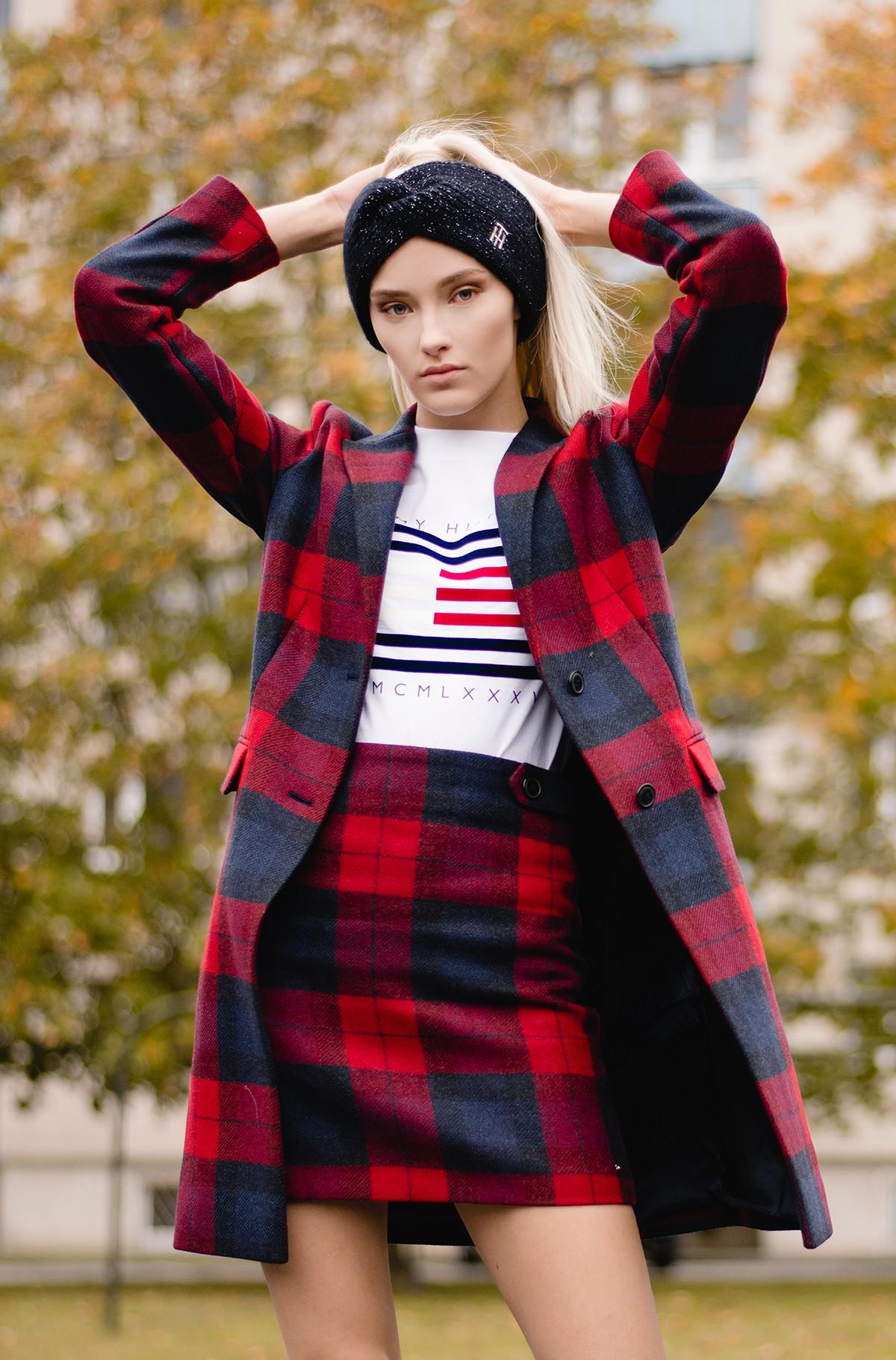 Skirt WOOL RED CHECK MINI SKIRT-full-1