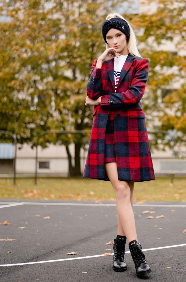 WOOL BLEND CHECK CLASSIC COAT
