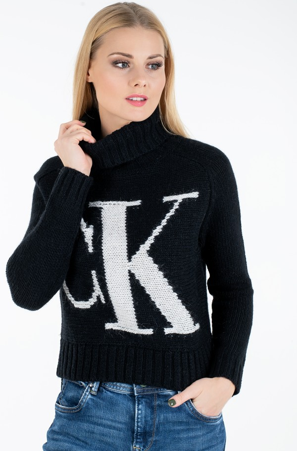 CK LOGO ROLL NECK SWEATER