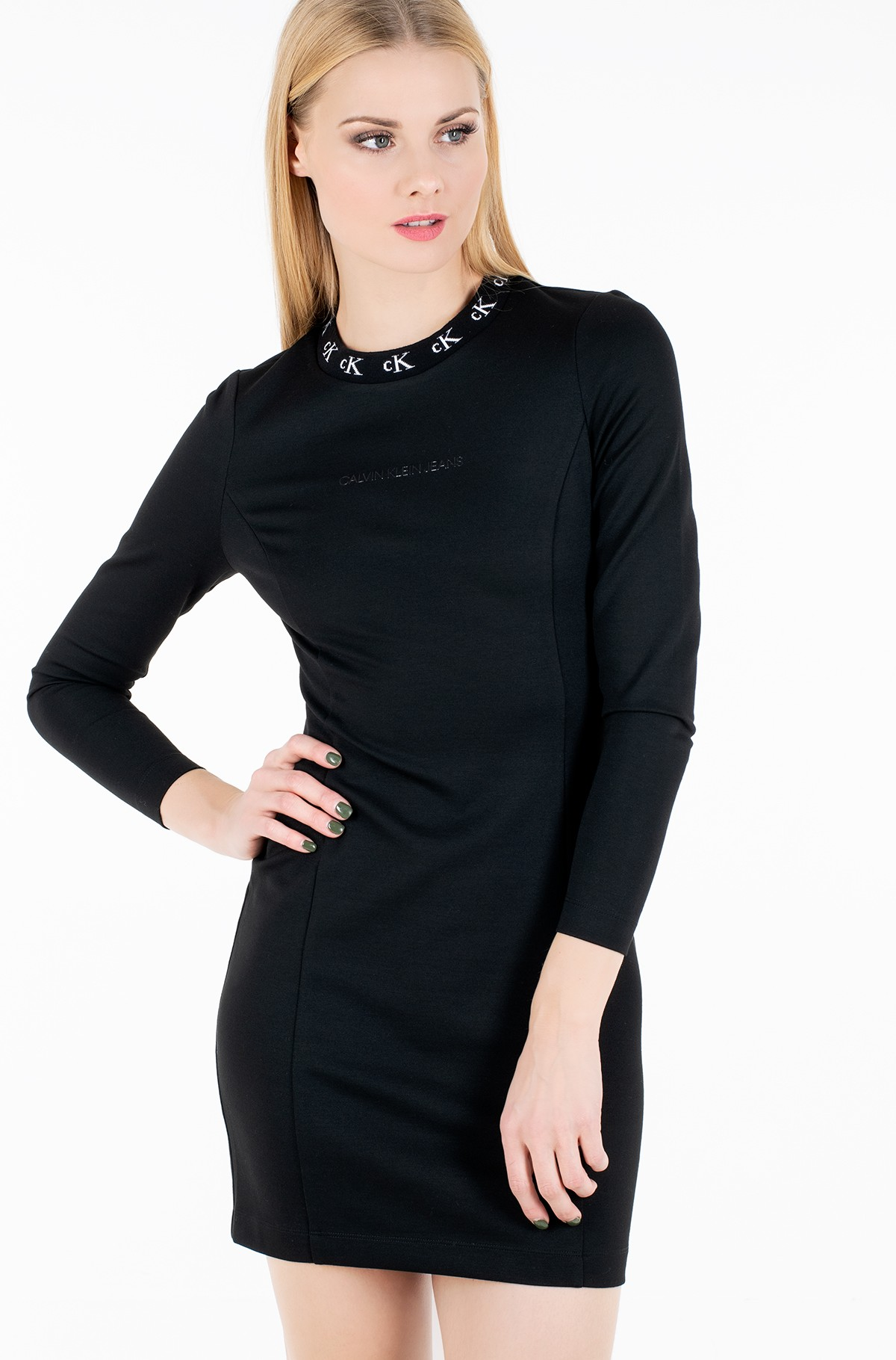 Kleit CK LOGO TRIM LS MILANO DRESS-full-1