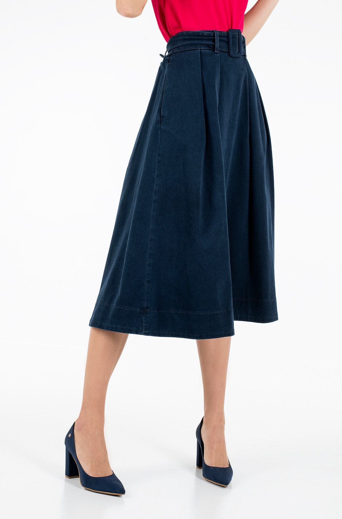 Sijonas TH SOFT MIDI SKIRT KELLY-full-1