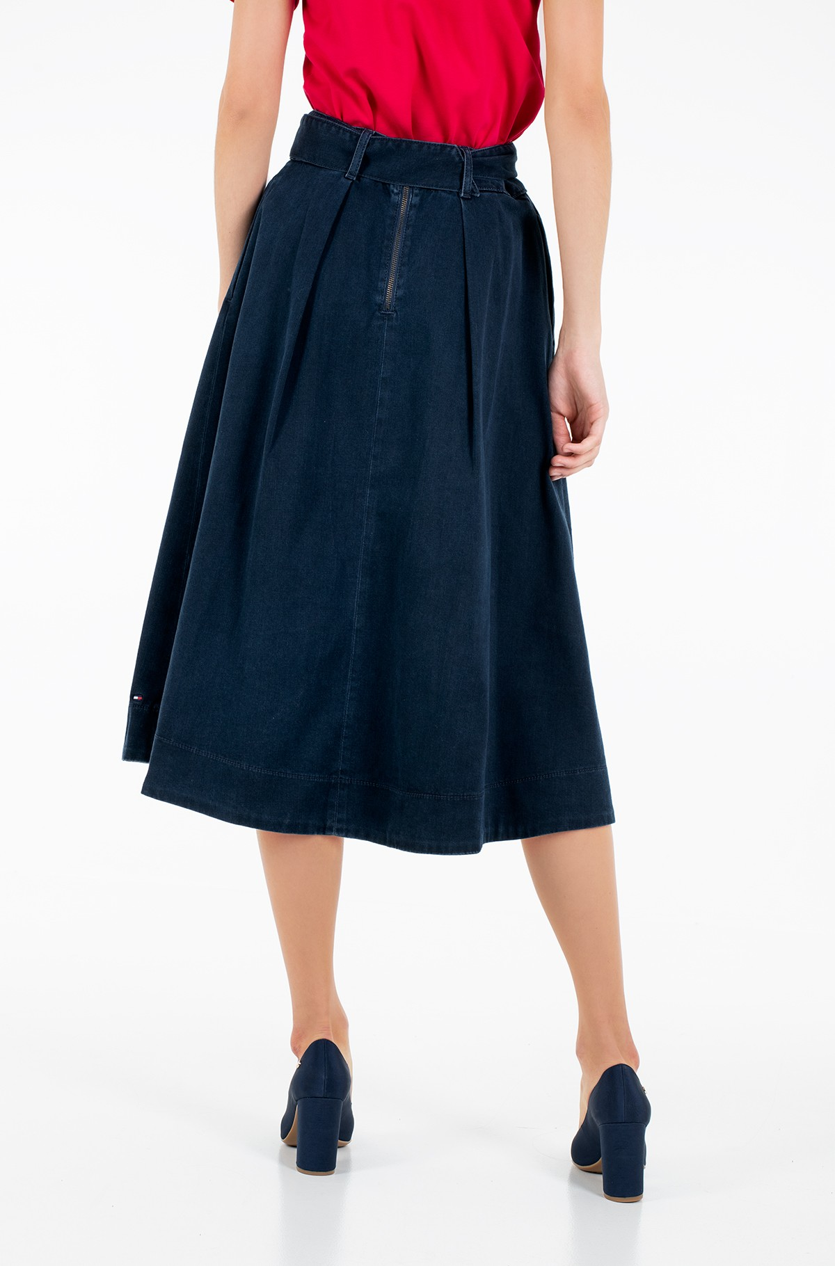 Sijonas TH SOFT MIDI SKIRT KELLY-full-2