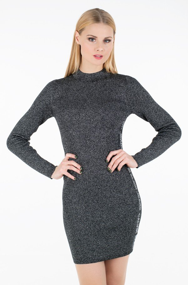 SILVER PLAITED MN SWEATER DRESS-hover