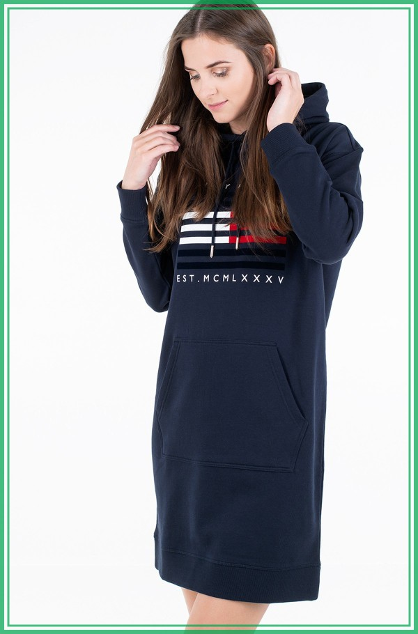 REGULAR FLAG HOODIE DRESS LS
