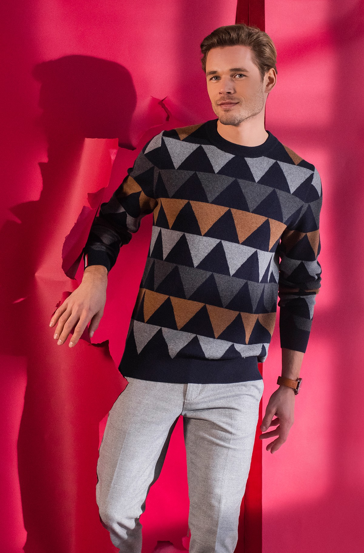 Sweater MODERN ARGYLE CREW NECK-full-1