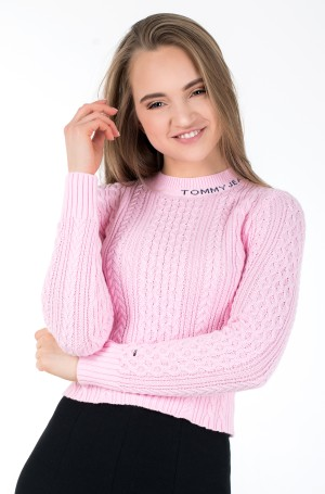 Kampsun TJW BRANDED NECK CABLE SWEATER-1