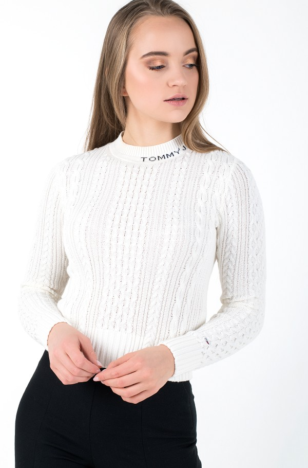 TJW BRANDED NECK CABLE SWEATER