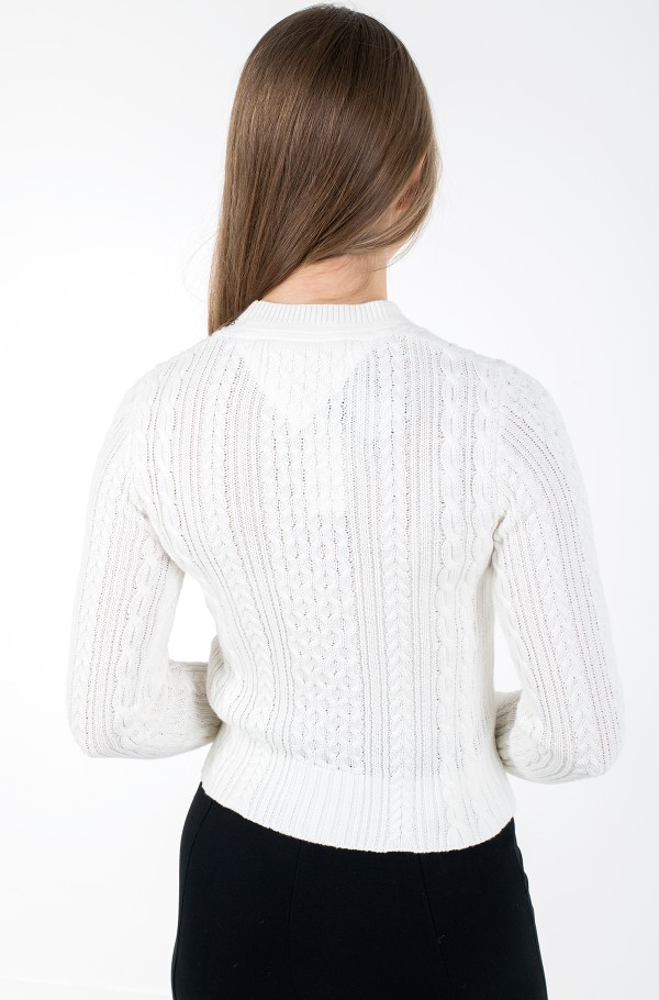 TJW BRANDED NECK CABLE SWEATER-hover