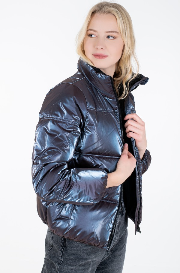 IRIDESCENT STAND COLLAR PUFFER-hover