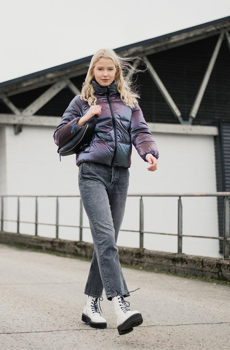 Jacket IRIDESCENT STAND COLLAR PUFFER-1