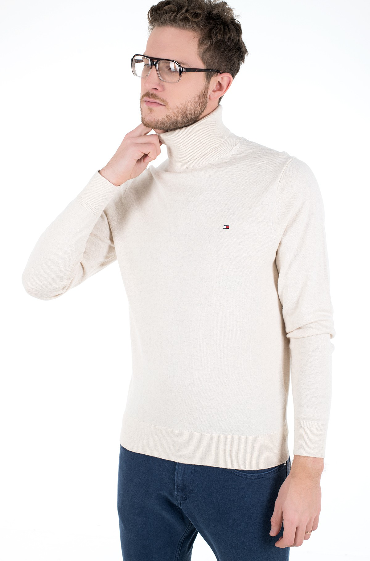 Kampsun PIMA COTTON CASHMERE ROLL NECK-full-1
