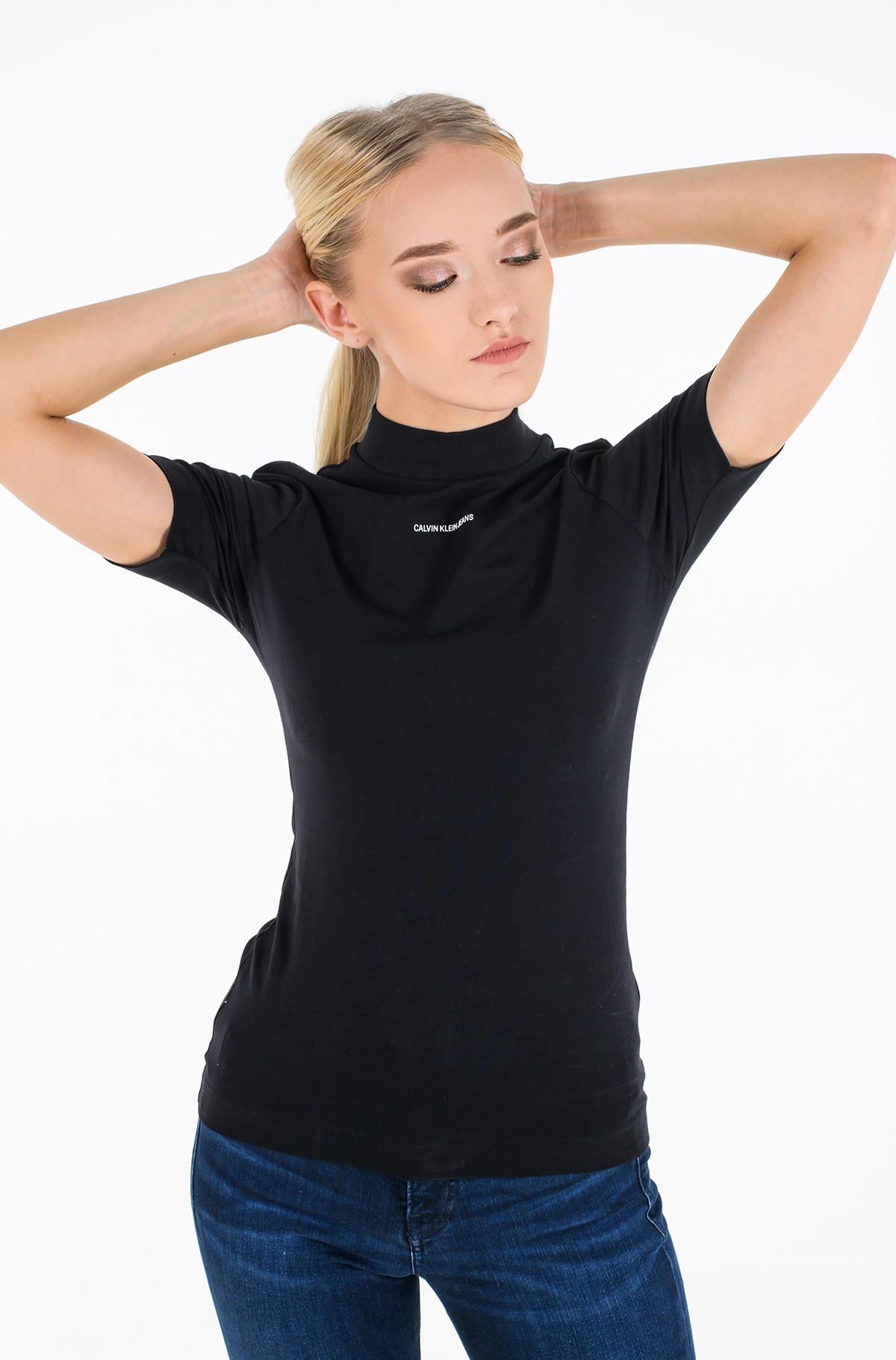 T-shirt MICRO BRANDING STRETCH MOCK NECK-full-1
