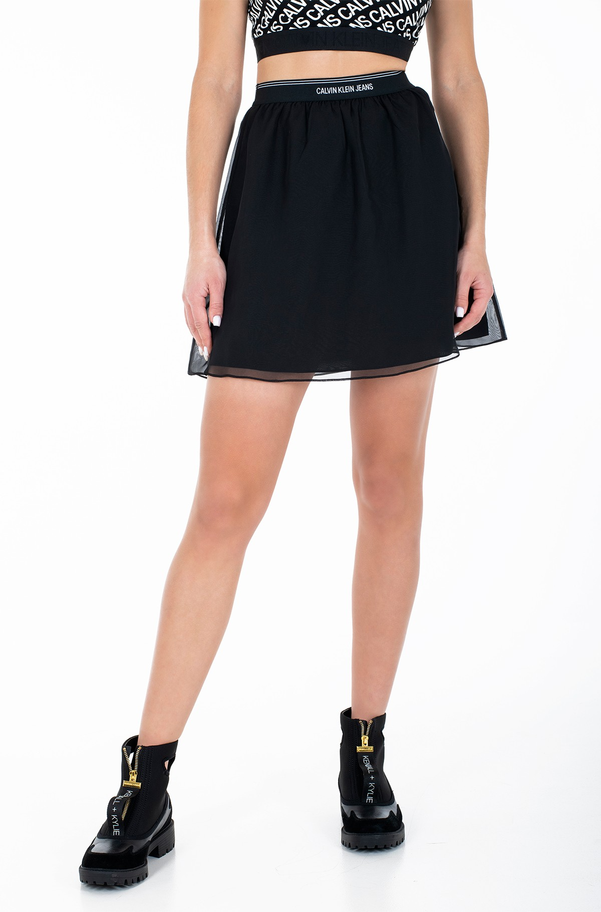 Skirt LOGO WAISTBAND CHIFFON SKIRT-full-1