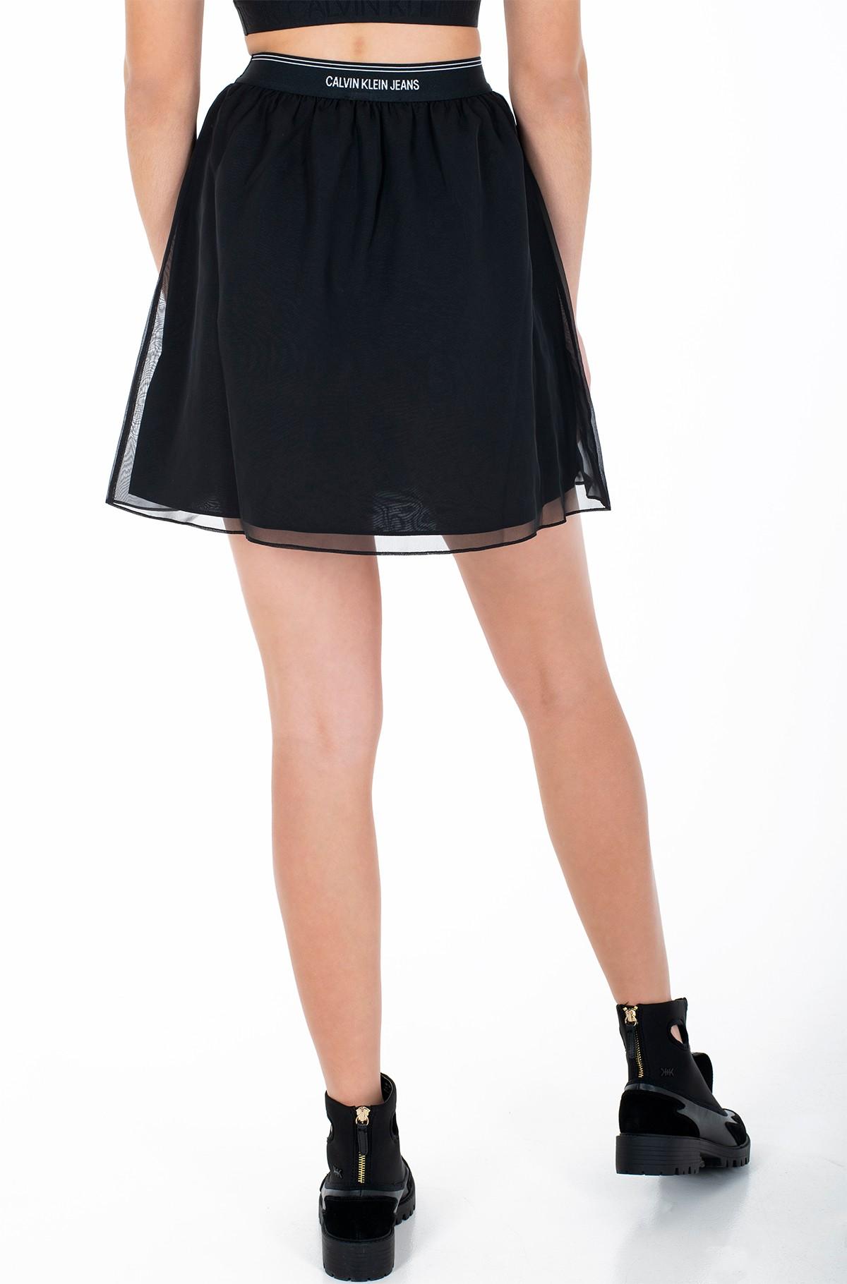 Skirt LOGO WAISTBAND CHIFFON SKIRT-full-2