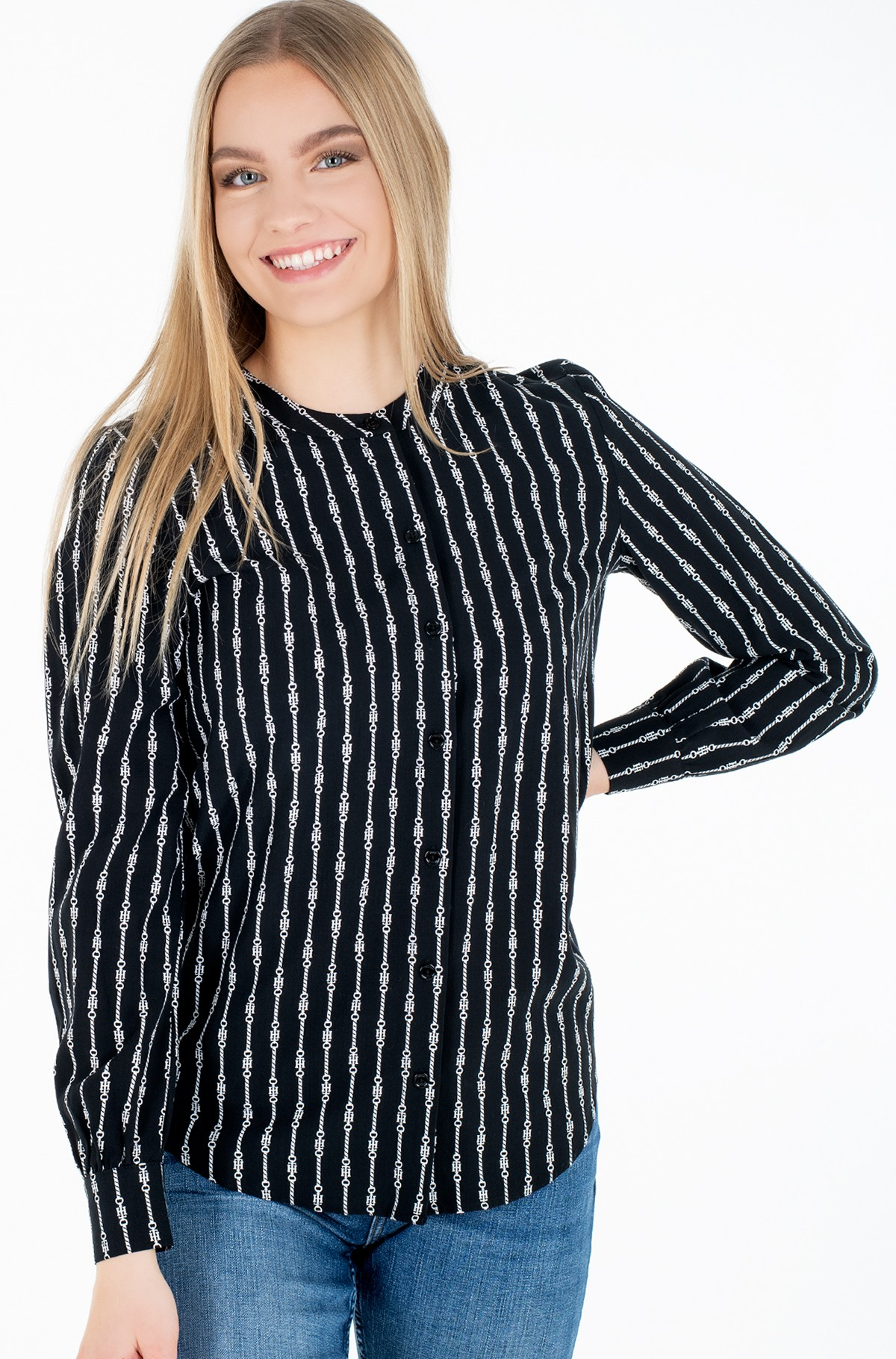 Triiksärk COLLARLESS REGULAR BLOUSE LS-full-1