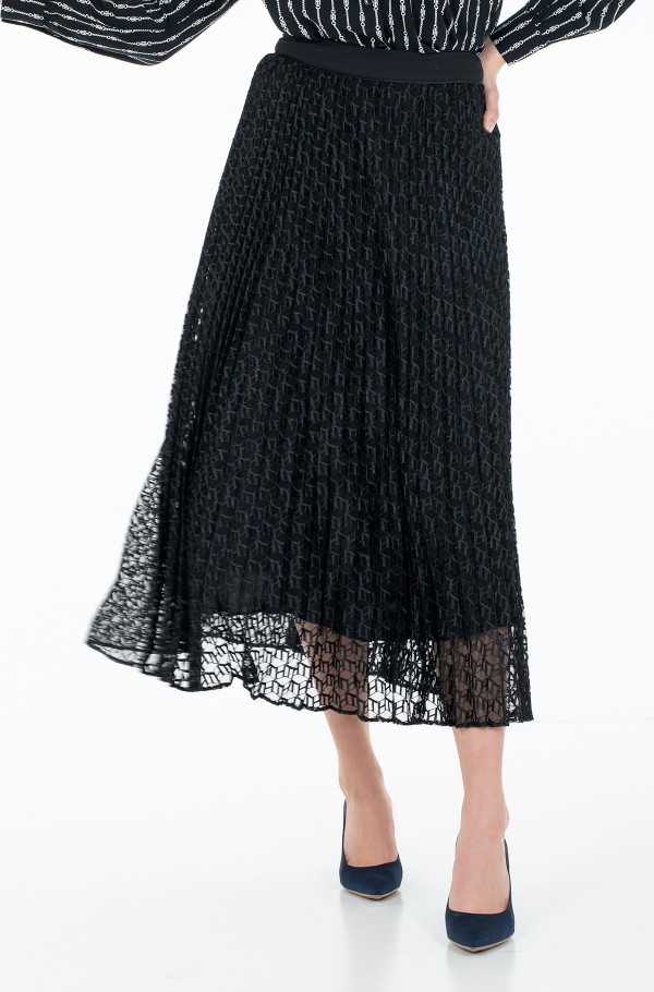 PLEATED LACE MIDI SKIRT-hover