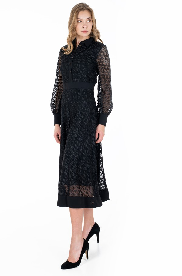 MESH EMB F&F MAXI DRESS LS