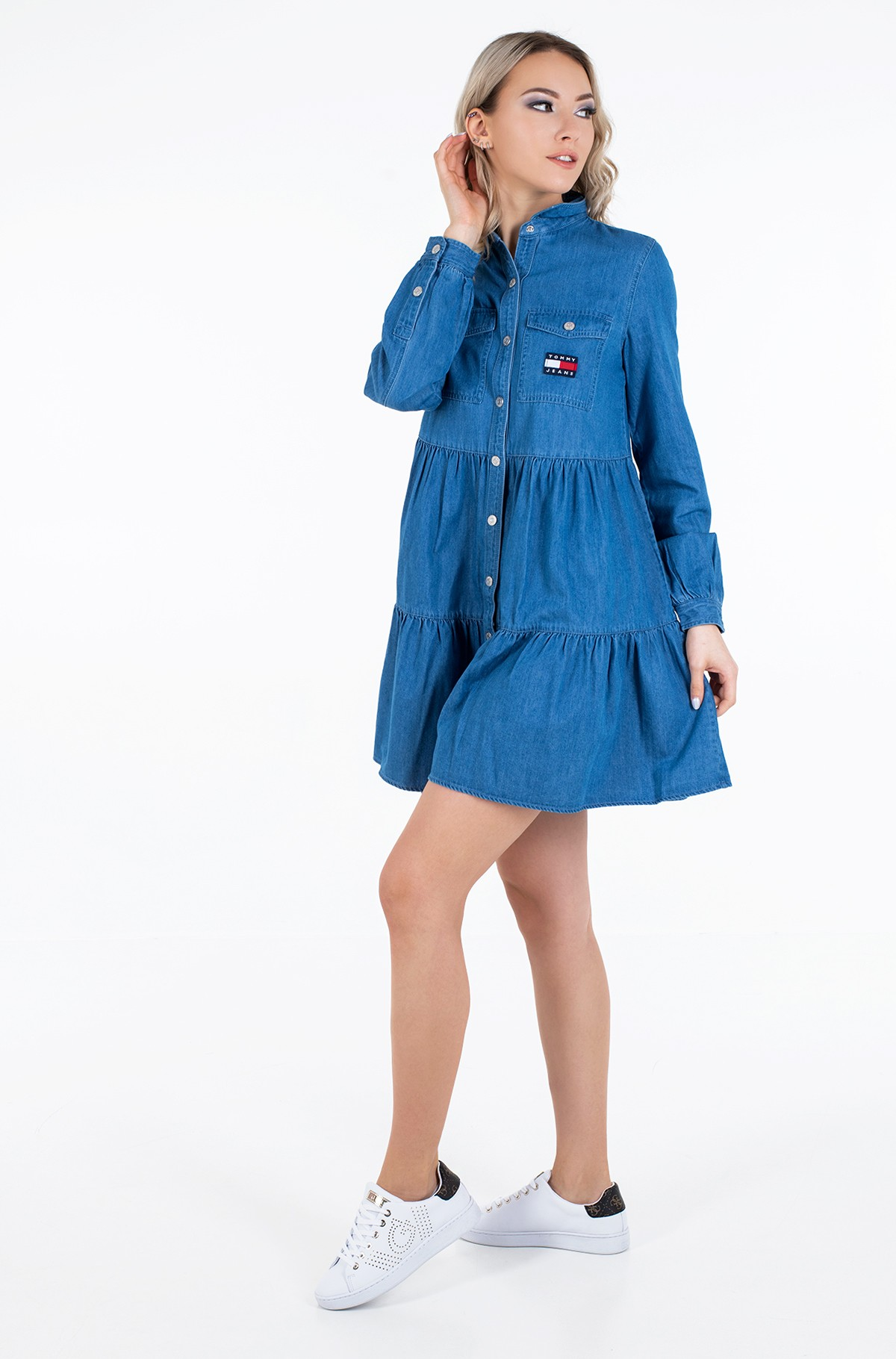 Džinsu kleita TJW CHAMBRAY SHIRT DRESS LS-full-1