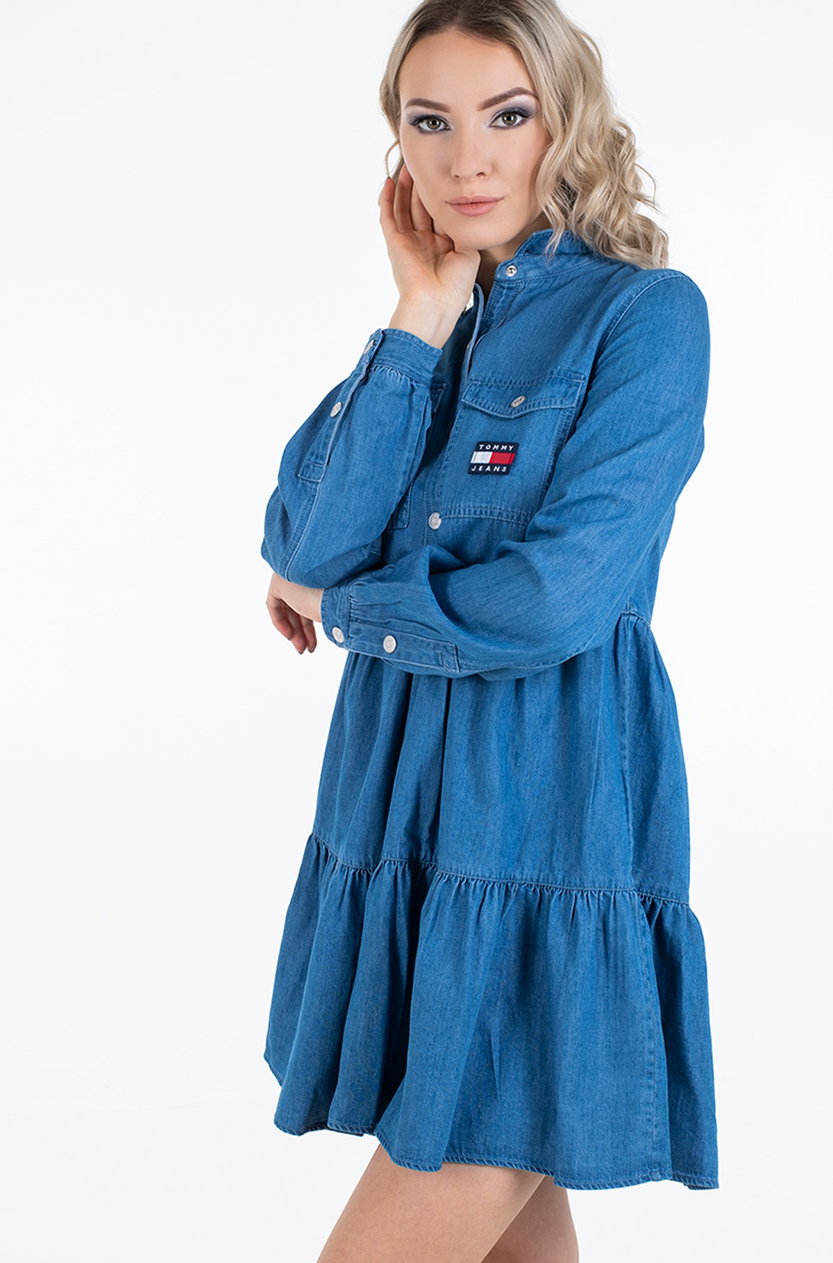 Džinsu kleita TJW CHAMBRAY SHIRT DRESS LS-full-2
