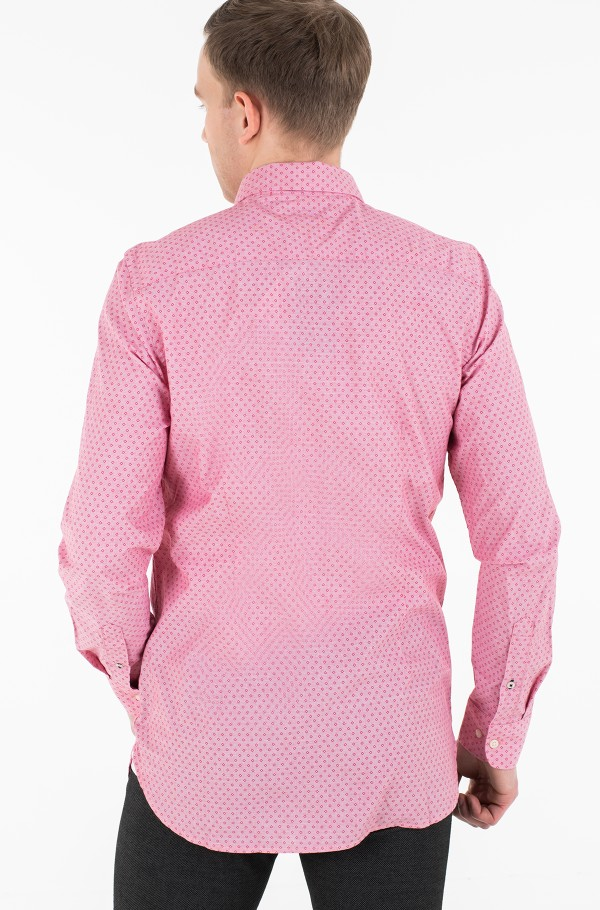 SLIM DOTTED SQUARE PRINT SHIRT-hover