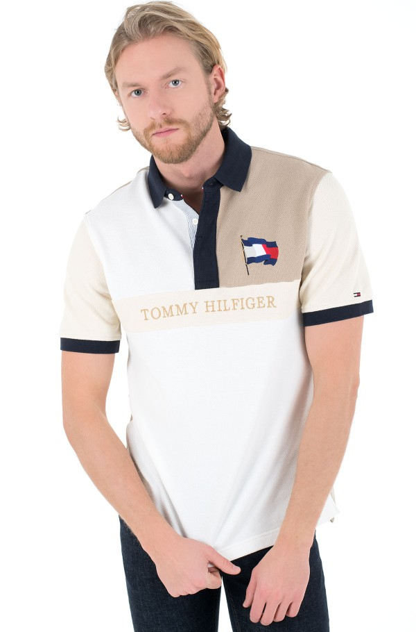 BRANDED TONAL BLOCK CASUAL POLO