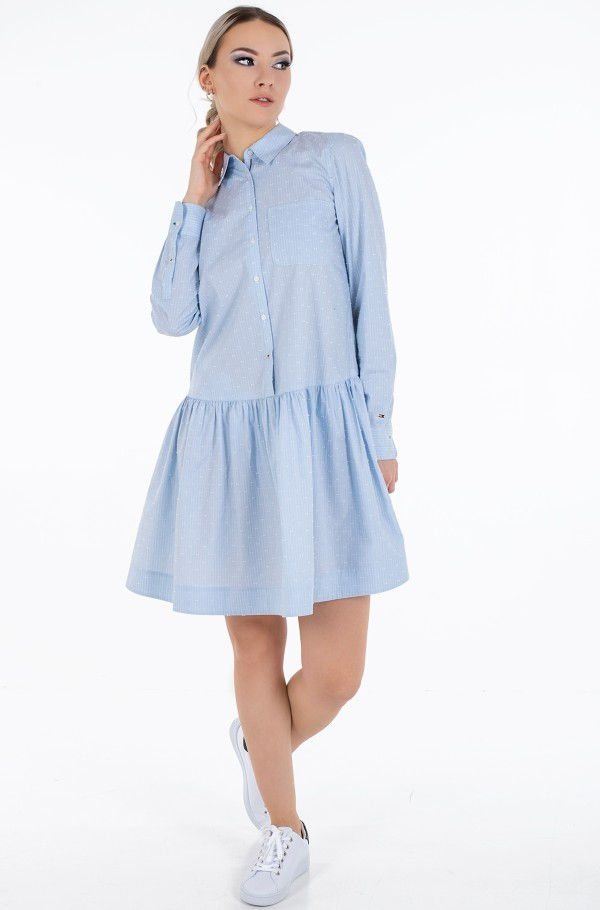 POP DOBBY SHORT SHIRT DRESS LS
