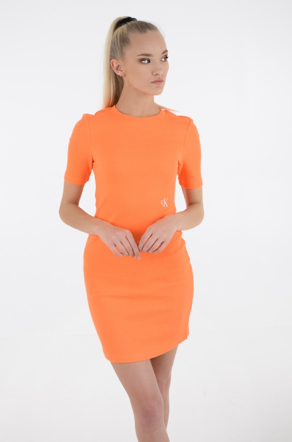 SLUB RIB 3/4 SLEEVES DRESS
