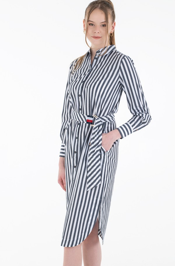 POPLIN MIDI SHIRT DRESS LS