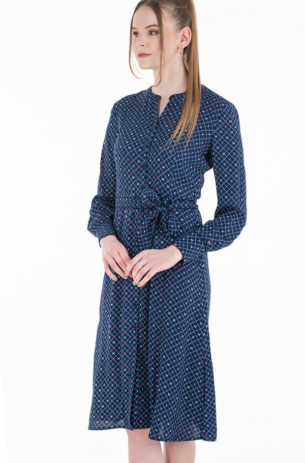 VIS CREPE MIDI SHIRT DRESS LS